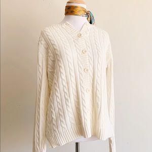 LL Bean 100% Cotton Medium Cable Knit Cardigan